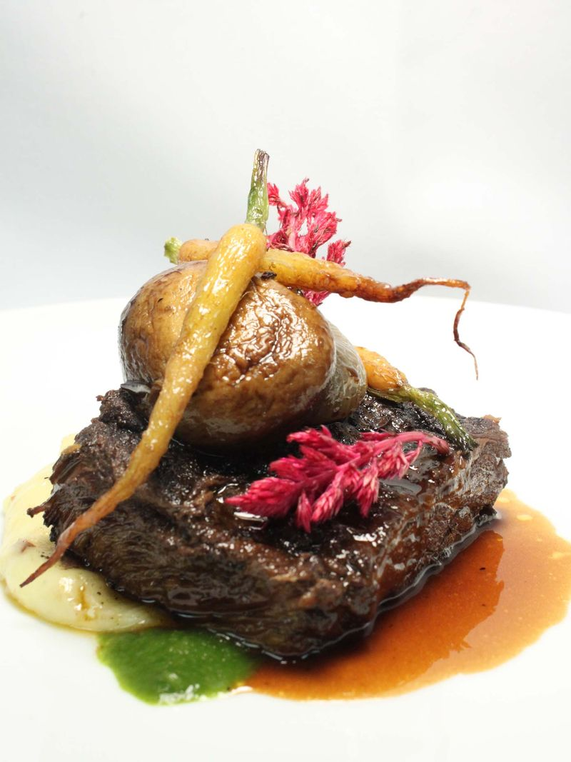 Short Rib Bourguignon, Stilton Jus, White Carrot, Cipollini Onion